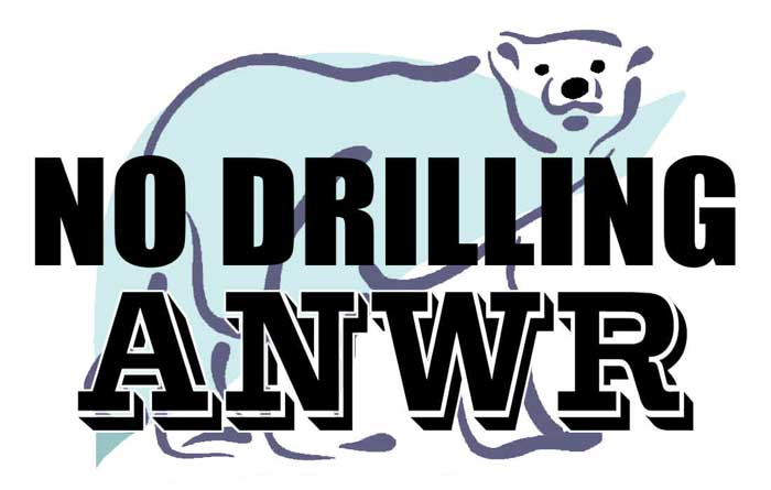 NO Drilling in Alaska Wildlife Refuge Poster, with polar bear